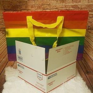 J Crew box & 1 IKEA rainbow tote